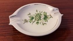 Régi Hollóházi porcelán hamutál zöld virágmintás hamus tál