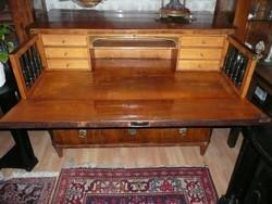 Gyönyörű antik biedermeier vastag dió svartnis írókomód nehéz, vastag réz díszekkel 1800-as évek