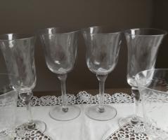 4db csiszolt és csavart talpas pezsgős boros likőrős antik pohár párok