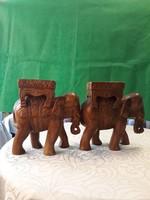 Indiából származó kézzel faragott elefánt szobor, 2 db egyben eladó  m-30 h-28 sz-14