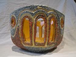 Gorka jellegű áttört iparművész retro kerámia kaspó váza