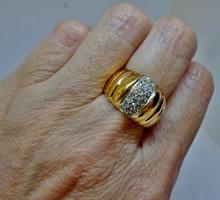 Különleges antik orosz széles köves aranyozott ezüstgyűrű