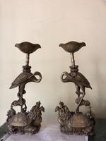 Keleti sárkányos ,teknős béka, daru bronz gyertyatartópár