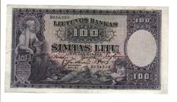 100 litu 1928 Litvánia Ritka 1.