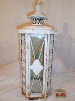Lámpás - fém - régi - nagy - 48 x 19 x 19 cm - csipkehatású