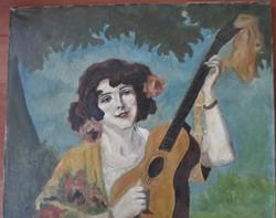 Szép Geiger Richard leány gitárral festmény