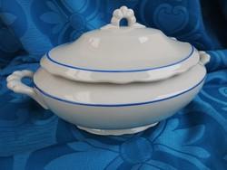 Barokk fehér zsolnay nagy levesestál kék dekorcsíkkal