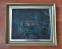 Ritkaság! Herpai Zoltán Éjszaka c.festménye