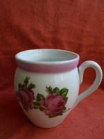 Nagy méretű pocakos rózsás porcelán csupor
