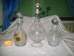 Üveg karaffa, kiöntő - három darab - boros, likőrös