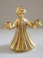 Kétágú gyertyatartó kis angyal figura rézből