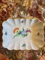 Antik Herendi aranyozott virágos kézzel festett kínáló tál
