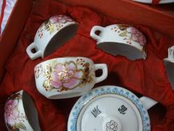 Antik kínai porcelán, selyem dobozában kézzel festett