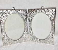 Régi szecessziós ezüstözött dupla képkeret, falra is akasztható