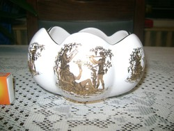 """""""Hand made in Greece"""" porcelán tál, jelenetes,  24 karátos aranyozással"""