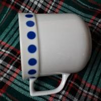 Antik kék pettyes teás bögre, régi jelzésű Alföldi