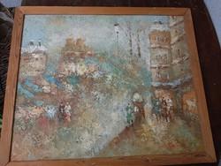 S.Barton szép festménye, vászon, farostra kasírozva, egyszerű keretben, 50x60