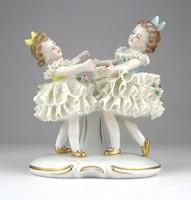 0X017 Régi jelzett SITZENDORF porcelán figura pár