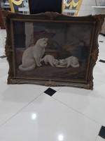 Antik cicás macskás festmény