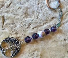 Kulcstartó életfa charm csiszolt üveggyöngy porcelán gyöngy