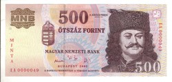 500 forint 2002 MINTA UNC 0000049 sorszám