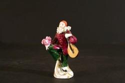 Sitzendorf Szerenádozó Férfi Mandolinnal Virágcsokorral Porcelán Figura 7cm