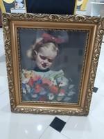 Kislány festmény kréta olaj