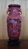 Csodálatos, cinóber vörös, régi kínai váza. Jelzett!