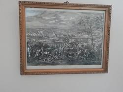 A zentai csata - Huchtenburg metszete, keretezve