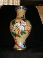 AntiK chinai rekesz zománc váza, 25-cm aranyozott kuriózum extraság