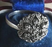 Gyűrű-ezüst marcasitokkal-magyar fémjellel -