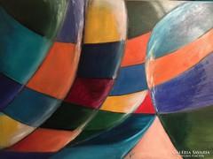Közvetlenül a művésztől! Eredeti, modern absztrakt, kortárs olajfestmény - Léghajó