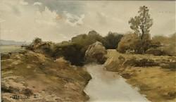 Dobroszláv Lajos (1902 - 1986) Csordogáló Patak. c:akvarell festménye EREDETI GARANCIÁVAL !!!