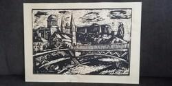 Végvári János (1927-1994) 1968 Esztergomi Bazilika Vár panoráma kép litográfia