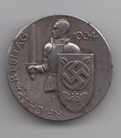 NAZI 1934 REICHSPARTEITAG ORIGINAL MEDAL - EREDETI, RITKA!