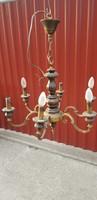 Antik 6 ágú réz+fa csillár patinás állapotban