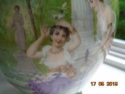 Szecessziós antik váza kézzel festett nimfákkal és angyalkákkal-26 cm