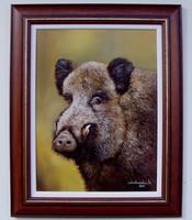 Vadkan portré KERETEZVE 52x42cm olaj-vászon festmény