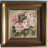 """Varga Szidónia """"Illatozó rózsák"""" c. olajfestmény keretben ingyenes házhoz szállítással"""