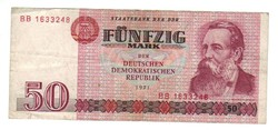 50 márka 1971 BB sorszám NDK Németország