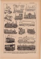 Mozdony, nyomat 1923, francia, 19 x 29 cm, lexikon, eredeti, vasút, gőzmozdony, vontatás, elektromos
