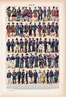 Haditengerészek, színes nyomat 1923, francia, 19 x 29 cm, lexikon, eredeti, katona, hadtörténet