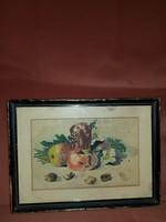 Kis akvarell gyümölcs-csendèlet, szignós