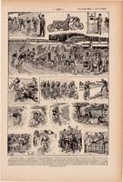 Kerékpárverseny, nyomat 1923, francia, 19 x 29 cm, lexikon, eredeti, kerékpár, bicikli, verseny