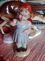 W & A Bertram tétova kosaras lány porcelán
