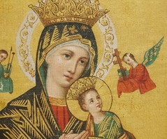 Istenanya a kis Jézussal,ikon szerű régi olaj-vászon festmény