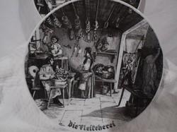 Tányér - porcelán - Osztrák - régi - hangulatos mintával - 24 cm - hibátlan