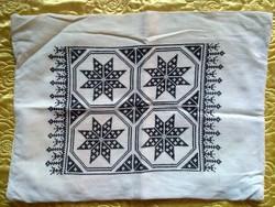 Antik kézzel font szőtt hímzett len párna huzat antique hand made / embroidered  linen pillow case