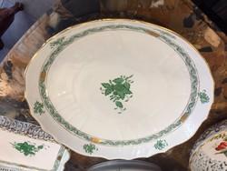 Tésztás tál, zöld Apponyi minta, herendi porcelán