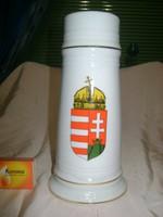 Magyar címeres porcelán sörös korsó
